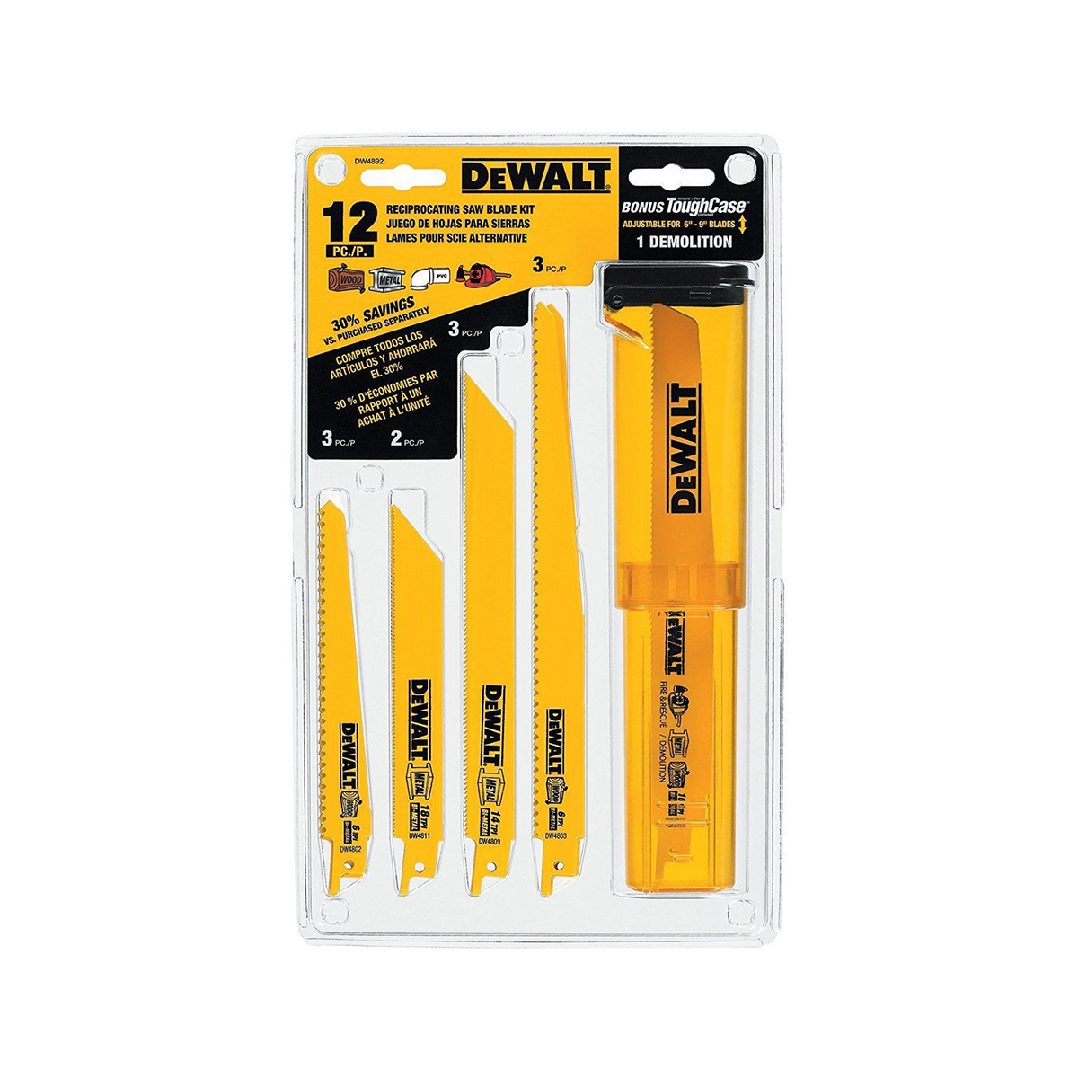 Dewalt 12pc Bi-Metal Recip Blade Set