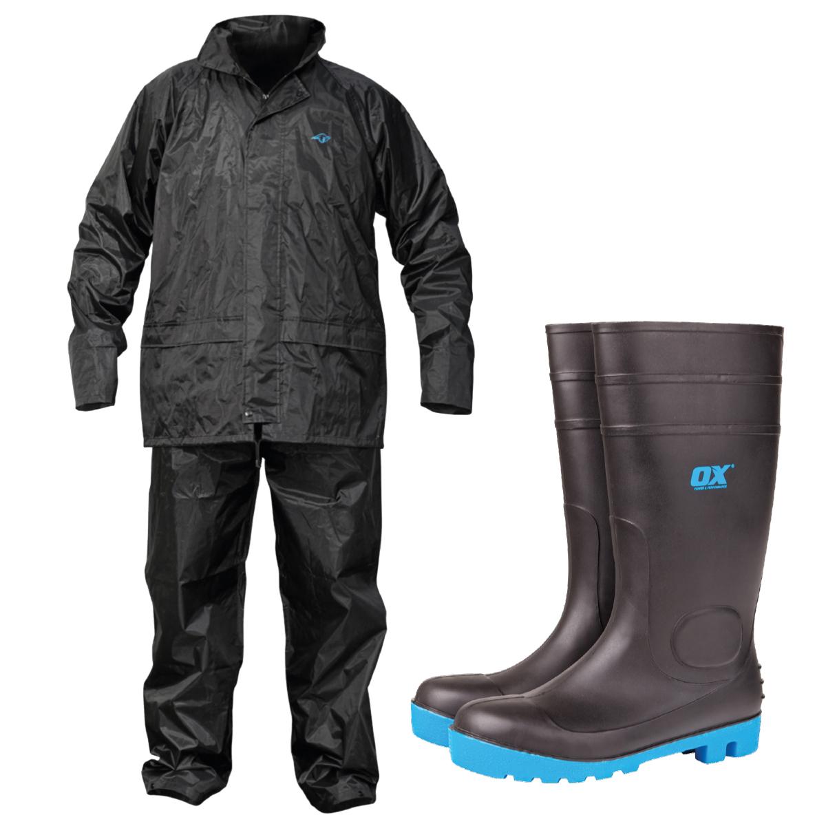 Rainsuit and wellington boots