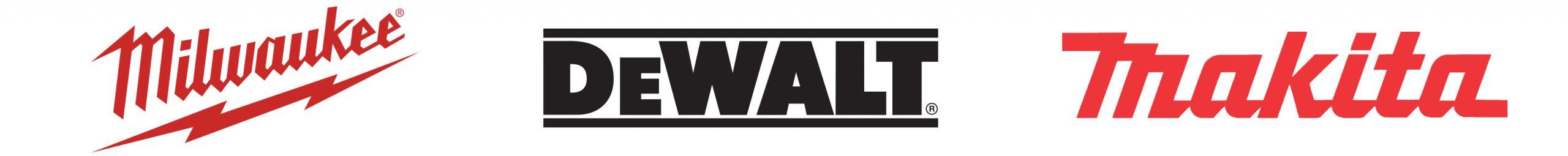 Milwakee Dewalt and Makita Logos