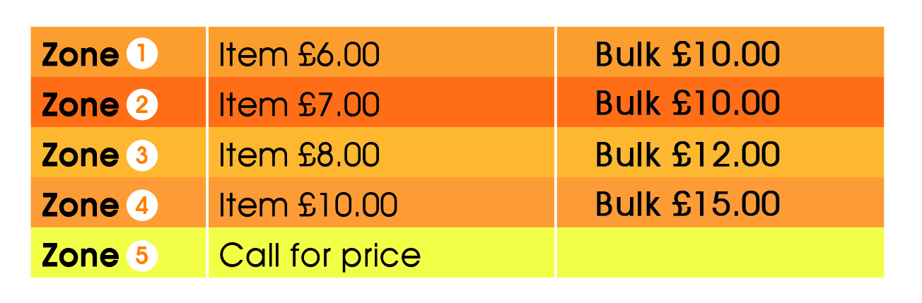 Delivery charges throughout Sussex according to radius