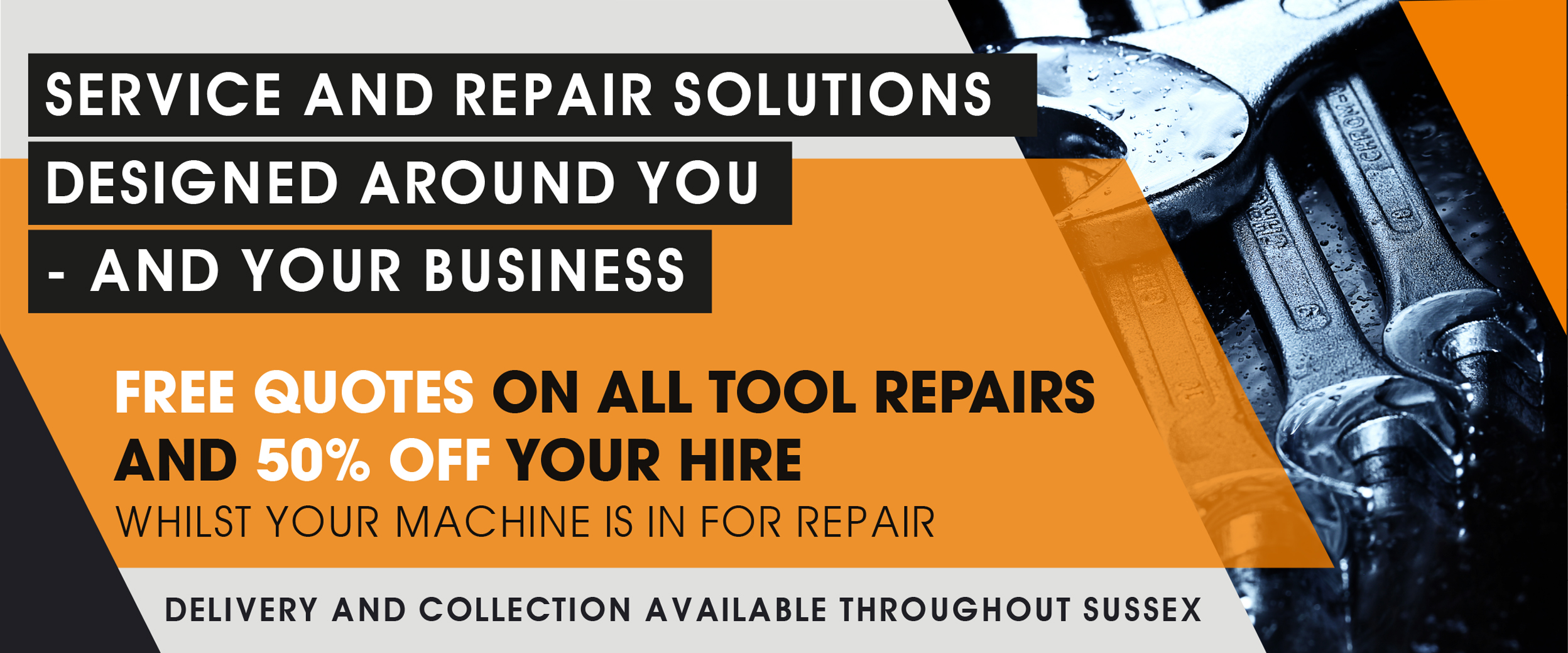 Repair solutions for you and your business - 50% off hire whilst you wait and free quotes